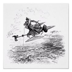Fantasy Flying Machines Wall Art  An unusual series of vintage illustrations featuring fantastic flying machines. In black and white, these illustrations would complement any decor and are sure to attract attention. This particular piece shows a man flying on a strange contraption.