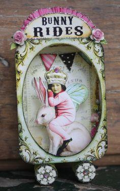 Debrina Pratt Bunny Rides via: www. Altered Tins, Altered Art, Paper Dolls, Art Dolls, Atelier Creation, Matchbox Art, Tin Art, Assemblage Art, Decoupage