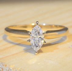 1950s Yellow Gold Marquise Diamond Ring by SolvangAntiques on Etsy, $950.00