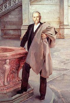 Architect Richard Morris Hunt by artist John Singer Sargent (1895). The artist painted many Vanderbilt portraits including that of the family of the 9th Duke of Marlborough and Consuelo Vanderbilt. Hunt was the architect of many of the most notable Vanderbilt Mansions including Consuelo's childhood homes the Petit Château (660 Fifth Ave); Marble House (Newport, RI); and Idle Hour (Oakdale, L. I., NY)