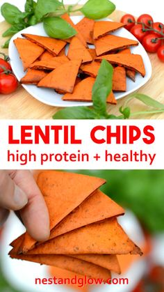 Tomato and Basil Lentil Chips Recipe - high protein, gluten free and healthy without oil via Healthy Chips, Healthy Protein, High Protein, Healthy Snacks, Healthy Breads, Protein Cake, Protein Muffins, Protein Cookies, Healthy Cookies