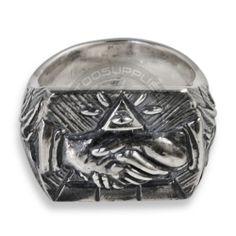 Anello in Argento con stretta di mano Massonica - Tattoo Supply: Ingrosso forniture per tatuatori firmato Micromutazioni