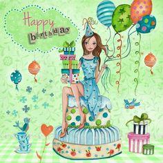Happy birthday by Cartita Design, Birthday Wishes Greeting Cards, Birthday Wishes Quotes, Happy Birthday Messages, Happy Birthday Greetings, Birthday Cards, Birthday Ideas, Happy Birthday Girls, Happy Birthday Pictures, Birthday Clipart