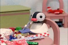かわいいピンガがハサミでチョキチョキと紙を切っているGIF画像 created by TOMO0610 Pingu Gif, Pingu Pingu, Kermit, Pingu Memes, Childhood Tv Shows, Gifs, Anime Girl Cute, Animated Cartoons, Wholesome Memes