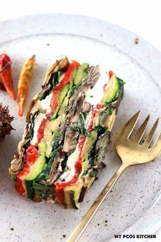 My PCOS Kitchen - Roasted Vegetable Terrine - Different grilled veggies stacked in a terrine. Low carb, gluten-free and primal! Side Dish Recipes, Vegetable Recipes, Vegetarian Recipes, Cooking Recipes, Healthy Recipes, Vegetarian Tart, Vegetarian Grilling, Healthy Grilling, Veggie Side Dishes