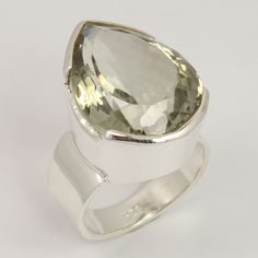 925 Sterling Silver Chunky Ring Size US 7.75 Natural GREEN AMETHYST Gemstone #Unbranded