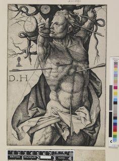 Print made by Daniel Hopfer.  St Sebastian after Michelangelo's Haman