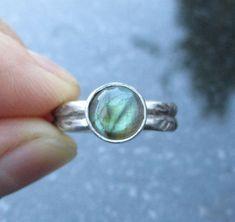 Labradorite Ring, US Size 6, Sterling Silver Gemstone Ring, Blue Flash Labradorite Jewelry, Round Stone, Hand Stamped Ring Band