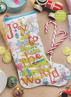 Cross #stitch chart~fairy festive #stocking by #lucie heaton+ mini christmas moti,  View more on the LINK: http://www.zeppy.io/product/gb/2/201472362752/