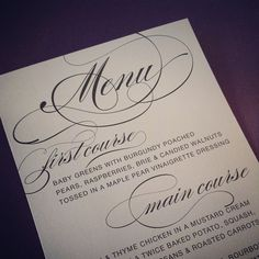 Gorgeous silver menus to match!  #envelopments  Invited by LamaWorks www.invitedbylamaworks.com