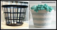 Get some rope and a cheap laundry basket and get wrapping. This would actually make those cheap dollar store laundry baskets sturdier, too. Cheap Laundry Baskets, Home Crafts, Diy Crafts, Planning And Organizing, Rope Basket, Friendship Gifts, Dollar Stores, Diy Tutorial, Sewing Crafts