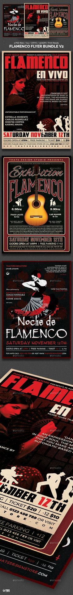 Flamenco Flyer Bundle V2 by lou606 3 Photoshop psd files, 1 help file. A4 size (21×29.7 cm) or (8.3×11.7 inch) with bleed (21.6×30.3 cm) or (8.5×11.9 inch). Print Re