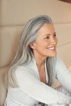 Long natural silver grey hair