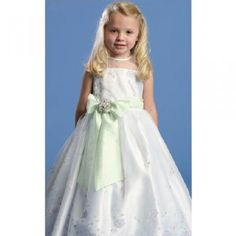 Angels Garment Green Satin Flower Girl Special Occasion Dress 2T-6