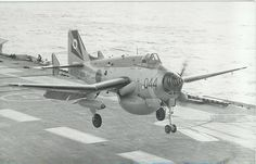 """british-eevee: """" Fairey Gannet coming in for a landing on a carrier (Date and location unknown) """" Navy Aircraft, Ww2 Aircraft, Aircraft Carrier, Military Jets, Military Aircraft, Hms Ark Royal, Airplane Drawing, Old Planes, Aviation Image"""
