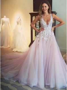5220867e03 A-Line V-Neck Open Back Sweep Train Pearl Pink Prom Dress with Appliques