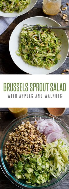 Shaved Brussels Sprout Salad with Apples and Walnuts: a fantastic twist on your traditional brussels sprout salad recipe or side dish! Back To Her Roots
