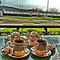 Turkish coffee is served out of a special copper cup and is brewed differently. The copper cup is also to make sure that in cafes you can tell the different between the normal and Turkish coffee.