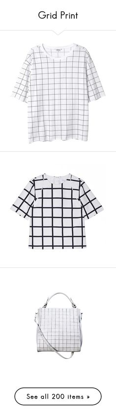 """""""Grid Print"""" by kearalachelle ❤ liked on Polyvore featuring tops, t-shirts, shirts, tees, print perfection, pattern t shirts, print t shirts, checkered top, pattern shirts and print tees"""