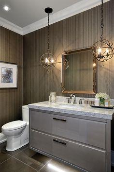 Create a Dramatic Powder Room in 5 Inspiring Steps! Luxury Penthouse, Luxury Condo, Modern Bathroom Design, Bathroom Interior Design, Bathroom Designs, Grey Bathrooms, Master Bathroom, Beautiful Bathrooms, Westminster
