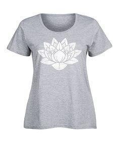 Athletic Heather Lotus Flower Scoop Neck Tee - Plus