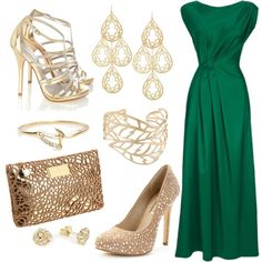 emerald green and gold