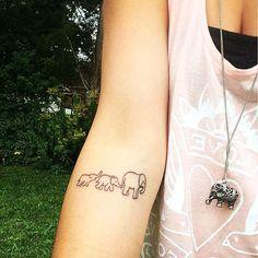 Cousin Tattoos, Family Tattoos, Tattoos For Daughters, Mom Tattoos, Elephant Family Tattoo, Colorful Elephant Tattoo, Cute Elephant Tattoo, Subtle Tattoos, Small Tattoos
