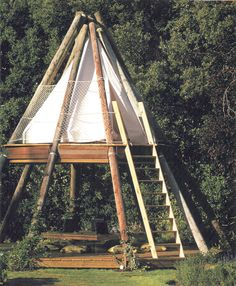 Garden Design Wood Outdoor Office - the teepee consists of reclaimed wood including old British Telecom telegraph poles along with contains a communal desk on the ground floor with seating set into the decking Camping Am Meer, Tent Camping, Glamping, Camping Ideas, Backpacking Tent, Campsite, Outdoor Spaces, Outdoor Living, Outdoor Gear