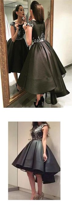 chic modern sparkling beaded high low asymmetrical black organza homecoming dress