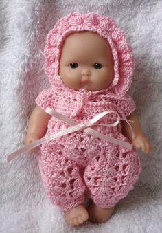 Crochet pattern for Berenguer 5 inch baby doll - sleepsuit and bonnet set : Crochet pattern for Berenguer 5 inch baby doll von petitedolls Baby Dolls, Baby Doll Clothes, Crochet Doll Clothes, Knitted Dolls, Doll Clothes Patterns, Crochet Dolls, Doll Patterns, Girl Dolls, Crochet Patterns