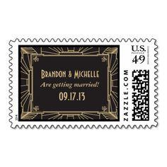 Art Deco Style Wedding Postage Stamps