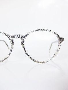 Jean Lafont Clear Eyeglasses Round 1960s Avant Garde Glasses Sunglasses Womens Ladies Optical Frames Transparent Black Glitter New Wave