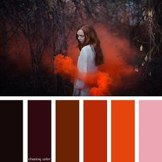 Shades Of An Orange Smoke Bomb (Photo Credit • nocturny.deviantart.com) #chasingcolor #colorthemes #colorful #color #palette #colorpalette #shades #tones #hues #colorinspiration #inspiration #creative #art #photography #design #theme #nature #woods #forest #girl #woman #redhead #ginger #red #orange #smoke #smokecomb #colorcomb