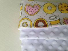 Donuts and White Minky Dots Security Blanket by MisterGoldenSun