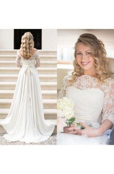 A Line Country Illusion Lace Bateau Neck V Back Zipper up Wedding Dress  with Sleeves - · Ruhák SzalagavatóraEsküvői ... f30d88e991
