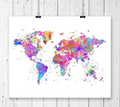 Etsy your place to buy and sell all things handmade etsy world map watercolor art print unframed gumiabroncs Image collections
