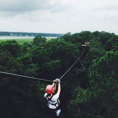 Ziplining in Hilton Head Island, South Carolina.