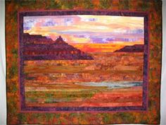 Southwest Strip Pieced Landscape Quilt, By Alice Rudolph