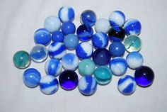 Old Vintage GLASS MARBLES Lot Blue  Free by NostalgicSalvage, $12.00
