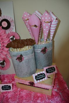 Cute decor at a  Cowgirl Birthday Party!  See more party ideas at CatchMyParty.com!  #partyideas #cowgirl