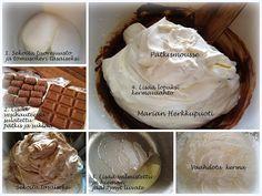 PÄTKISMOUSSE:  100 g maitosuklaata 140 g pätkistä 4 dl kermaa 200 g tuorejuustoa 1 ½ dl tomusokeria 2tl vaniljasokeria ½ sitruunan mehu 1 ½ tl liivatejauhetta  1. Sekoita tuorejuusto, tomusokeri ja vaniljasokeri 2. Sulata suklaa ja pätkis vesihauteessa ja lisää tuorejuuston sekaan 3. Lisää seokseen valmis hieman jäähtynyt liivate 4. Lisää lopuksi vaahdotettu kerma