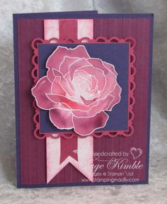 handmade card ... gorgeous rose ... Fifth Avenue Floral ... deep burgundy base ... beautiful card ... Stampin' Up!