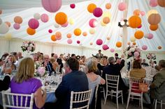 Hanging Lanterns in Wedding Marquee
