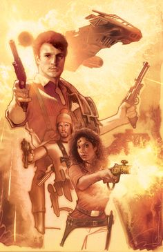 Firefly. Joss Whedon continued writing Firefly comics after the series and movie ended. Start with Serenity Vol. 1: Those Left Behind.