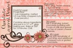 Chocolate Layered Dessert...an oldie but a goodie:)  Recipe card made digitally with Photoshop Elements.