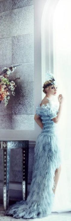 The Great Gatsby Vintage Fashion - Vogue - Chanel Haute Couture chiffon, feather, and tulle dress