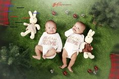 "☆ My first Christmas ☆ "" Chleo & Chloe "" 📸 ar_Pijoh . Canon 80d, Twin Babies, Twins, My First Christmas, S Models, Baby Sleep, Photo Studio, Children Photography, Kids Fashion"