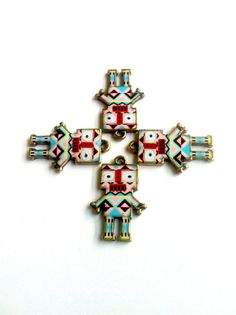 Pastel Tribal Print Robot Charms 4pcs by KajaSupplies on Etsy