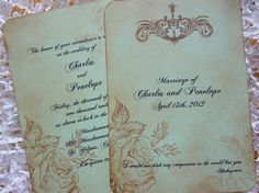 Shabby Chic Wedding Invitation and RSVP Vintage by ifiwerecards, $5.50....omg these are beyond perfect and they have a Shakespeare quote at the bottom!!!...its meant to be <3