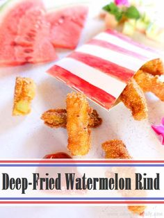 Who thought that kitchen scraps can taste so delicious? Make deep-fried watermelon rind with the part of the fruit that you'd usually toss! Deep-fried watermelon rind is healthier than French fries and just as delicious! Watermelon Pickles, Watermelon Rind, Watermelon Recipes, Vegan Gluten Free, Gluten Free Recipes, Vegan Recipes, Cooking Recipes, Good Food, Yummy Food